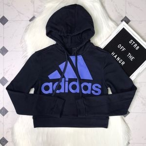 NWT adidas blue cropped sport hoodie size XS/4-6